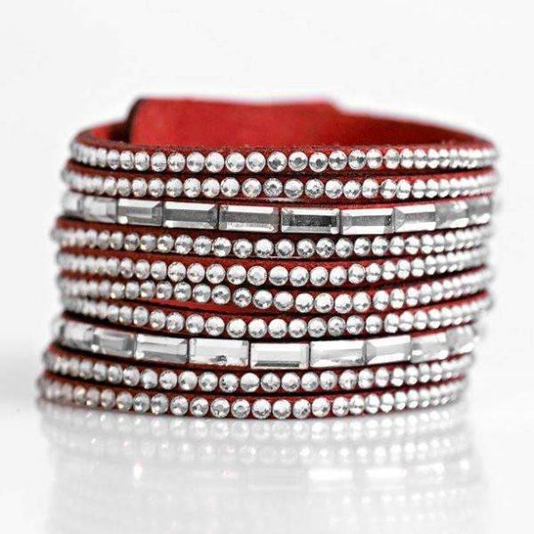 "Paparazzi ""Name Your Price"" Red Suede Sparkly Rhinestone Bracelet"