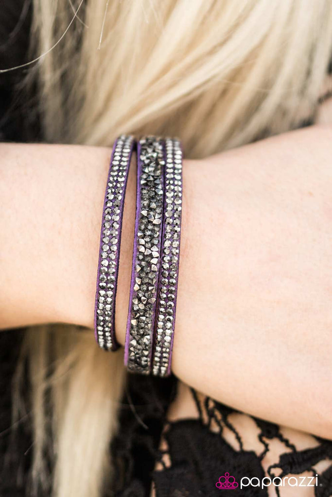 I Love Rock N Roll Purple Rhinestone Suede Wrap Bracelet
