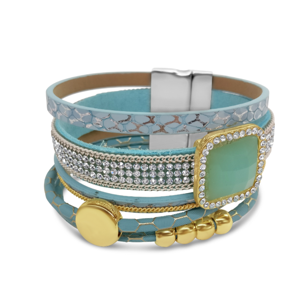 Sky Blue 5-Line Mixed Magnetic Gold Tone Bracelet