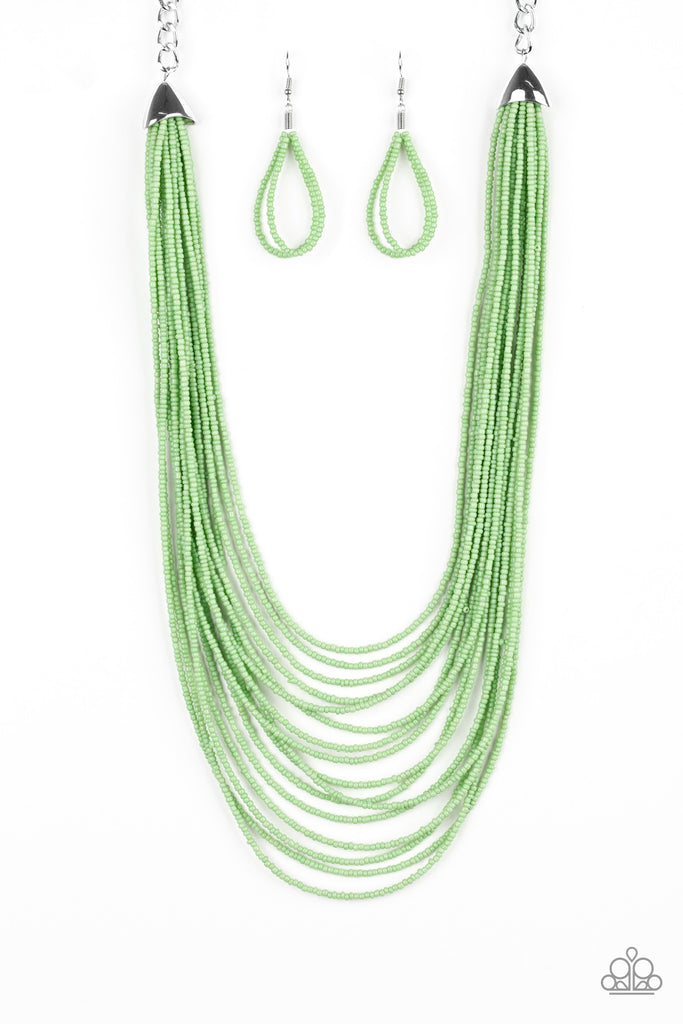 "Paparazzi ""Peacefully Pacific - Green"" Layered Seed Beads Necklace & Earrings Set"