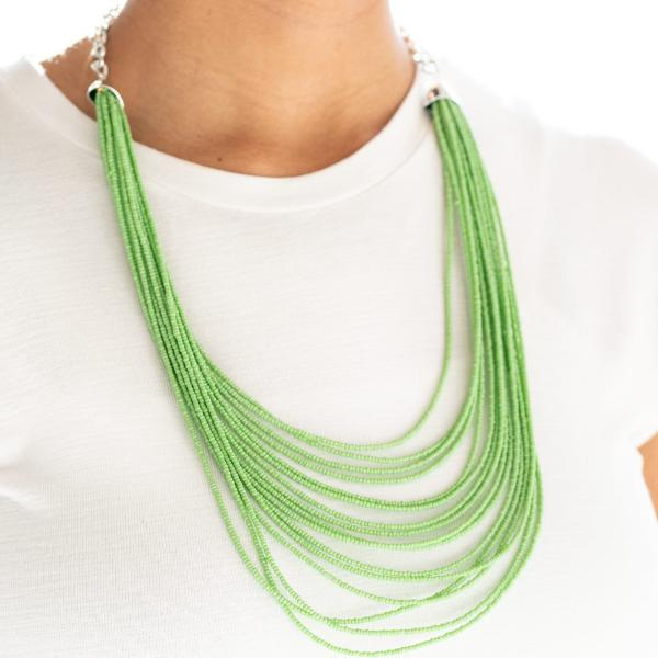 """Peacefully Pacific"" Green Seed Beads Necklace & Earrings Set"