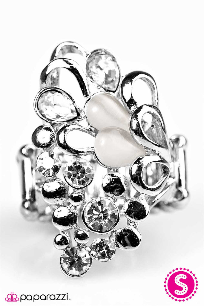 Paparazzi Sparkle Splash White Faux Moonstone Stretch Ring
