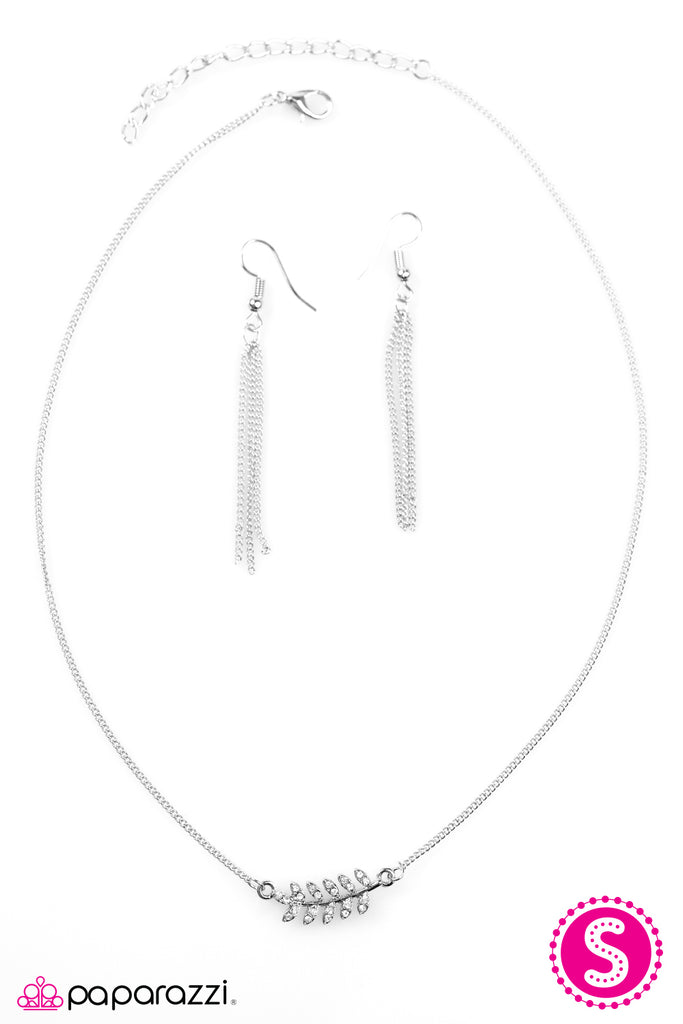 """If Trees Could Talk"" White Rhinestone Silver Leaf Necklace & Earring Set"