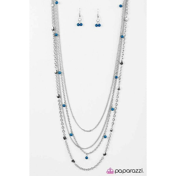 """Beach Days - Blue"" Lapis Blue 4 Strand Silver Necklace & Earrings Set"