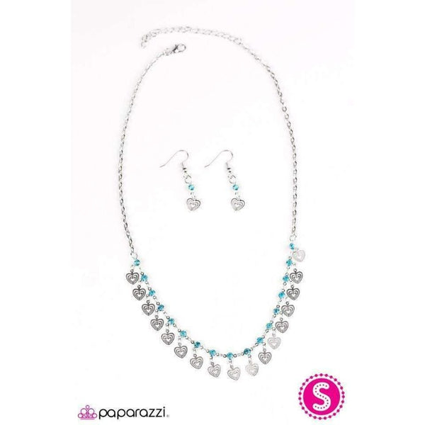 """Deepest Desires"" Blue & Silver - Heart - Necklace & Earrings Set"