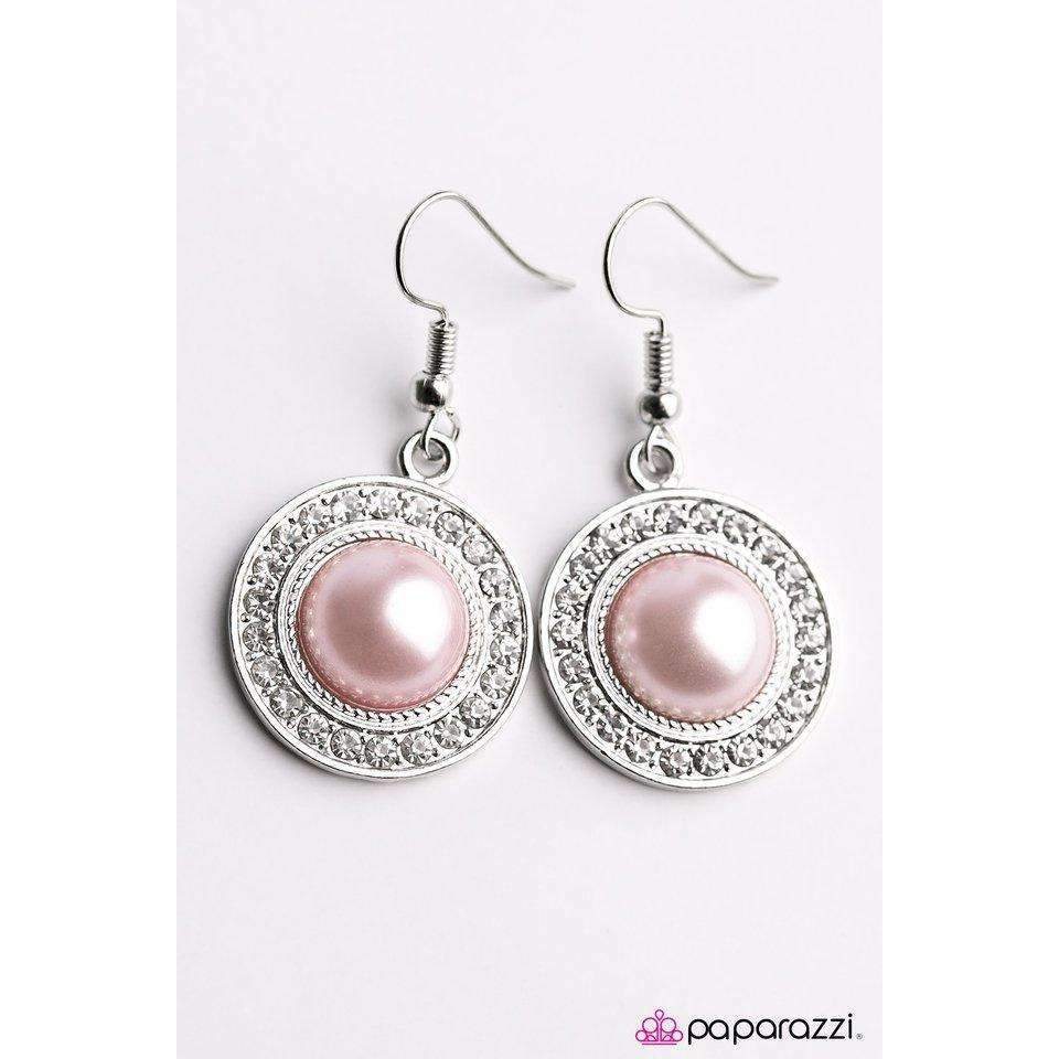 Paparazzi Roaming In Rochester Pink Bead Rhinestone Earrings