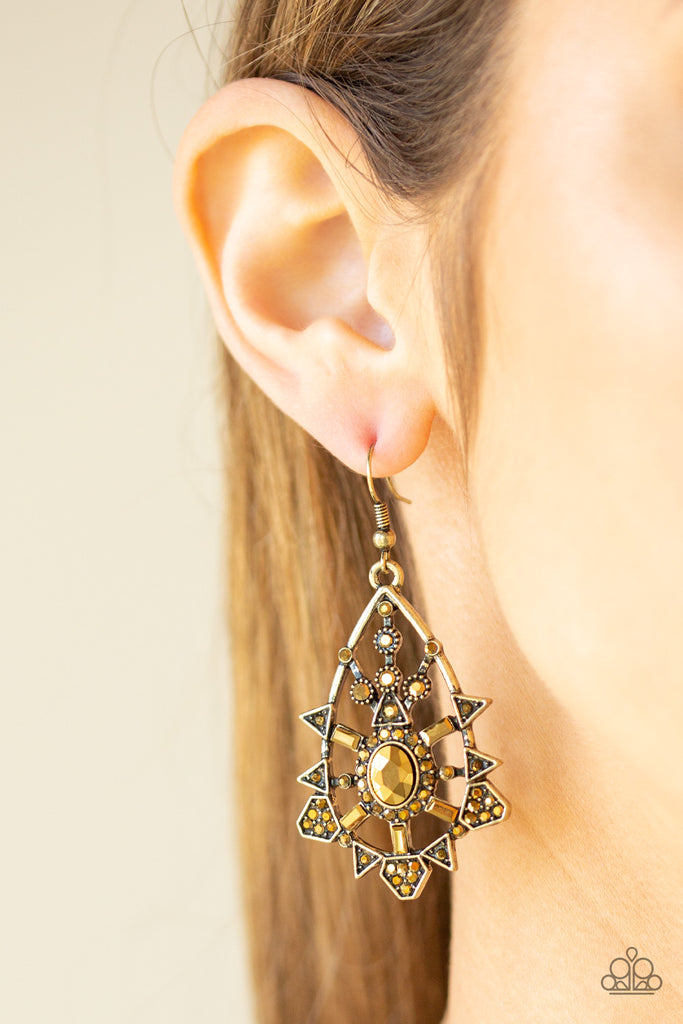 Paparazzi Gatsby Glimmer Brass Pierced Earrings