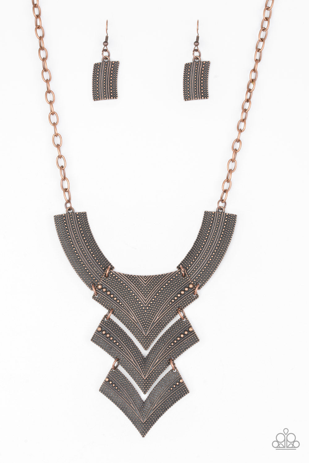 """Fiercely Pharaoh - Copper"" Antiqued Copper Geometric Necklace & Earrings Set"