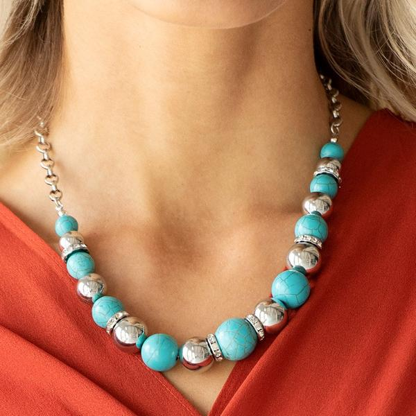 """The Ruling Class"" Faux Turquoise Stone Necklace & Earrings Set"