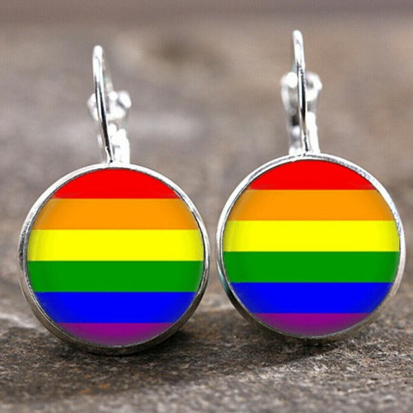 Gay Pride LGBT Glass Cabochon 18 MM Lever Back Silver Earrings