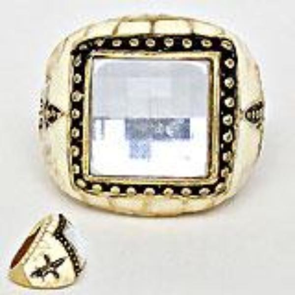 Fleur de Lis Black, Ivory, Gold Statement Ring Size 9