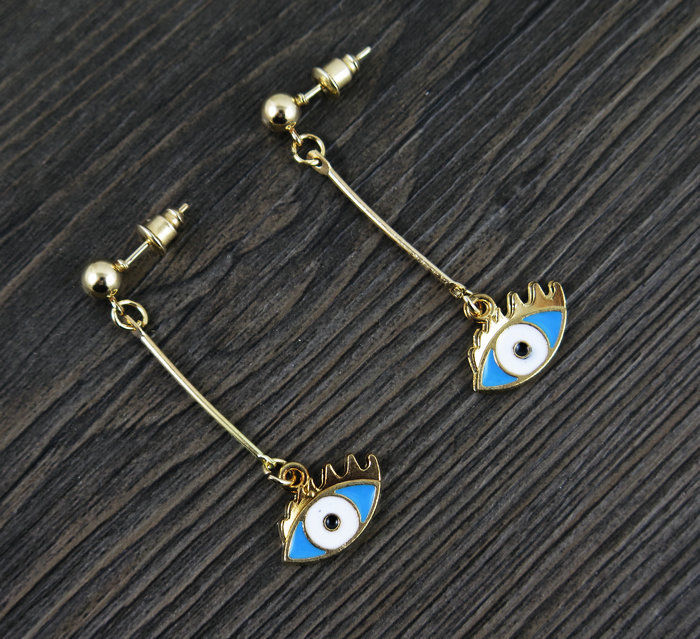 Betsey Johnson Evil Eye Golden Ball Long Drop Earrings