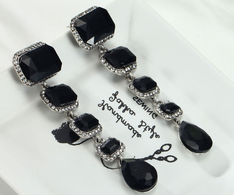 Black Crystal & White Rhinestone Dangle Earrings