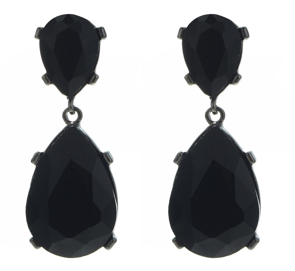 Black Crystal Double Teardrop Evening Earrings