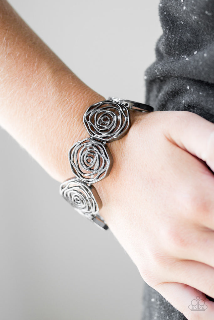 """Beat Around The ROSEBUSH"" Black Flower Stretch Bracelet"