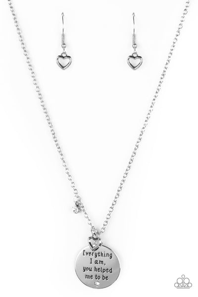 Paparazzi Everything I Am - White Silver Heart Necklace & Earrings Set