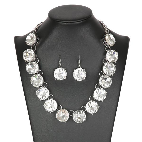 "ZI Collection ""The Marissa"" Oversized Rhinestone Silver Necklace Earrings Set"
