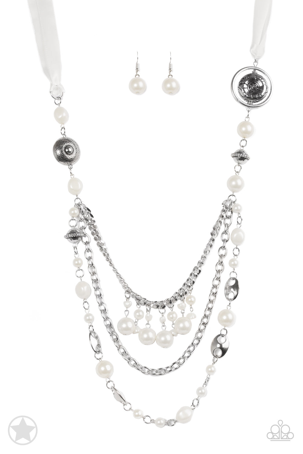 Paparazzi All The Trimmings - Ivory Silver Faux Pearl Necklace & Earrings Set