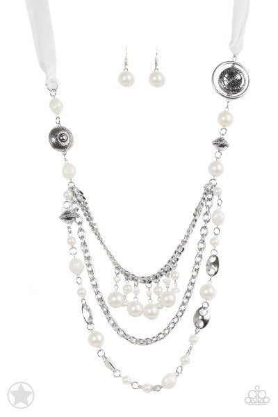 """All The Trimmings - Ivory"" Silver Faux Pearl Necklace & Earrings Set"