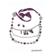 """All The Trimmings - Purple"" Silver Pearl Victorian Necklace & Earring Set"
