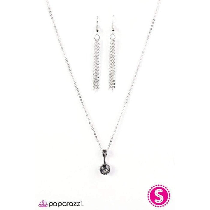 """Spark In The Dark"" Faceted Smoky Gem Necklace & Earring Set"
