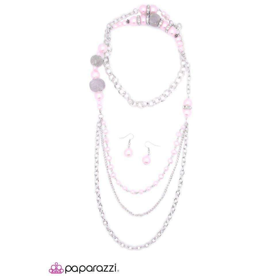 Paparazzi Enmeshed In Elegance - Pink Chunky Silver Balls Necklace & Earrings Set