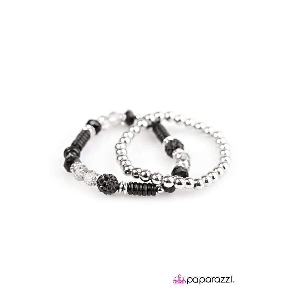 Paparazzi My Dance Card Is Full Silver & Black Bead 2 Piece Bracelet Set