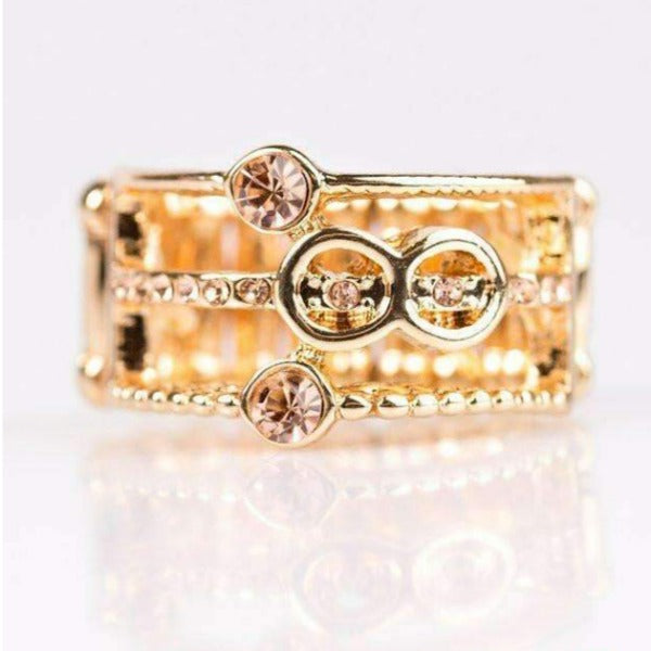 """No Time Like The Present - Gold"" Glittery Peach Rhinestone Ring"