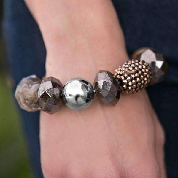 """All Cozied Up"" Brown Copper Glazed Beaded Silver Bracelet"