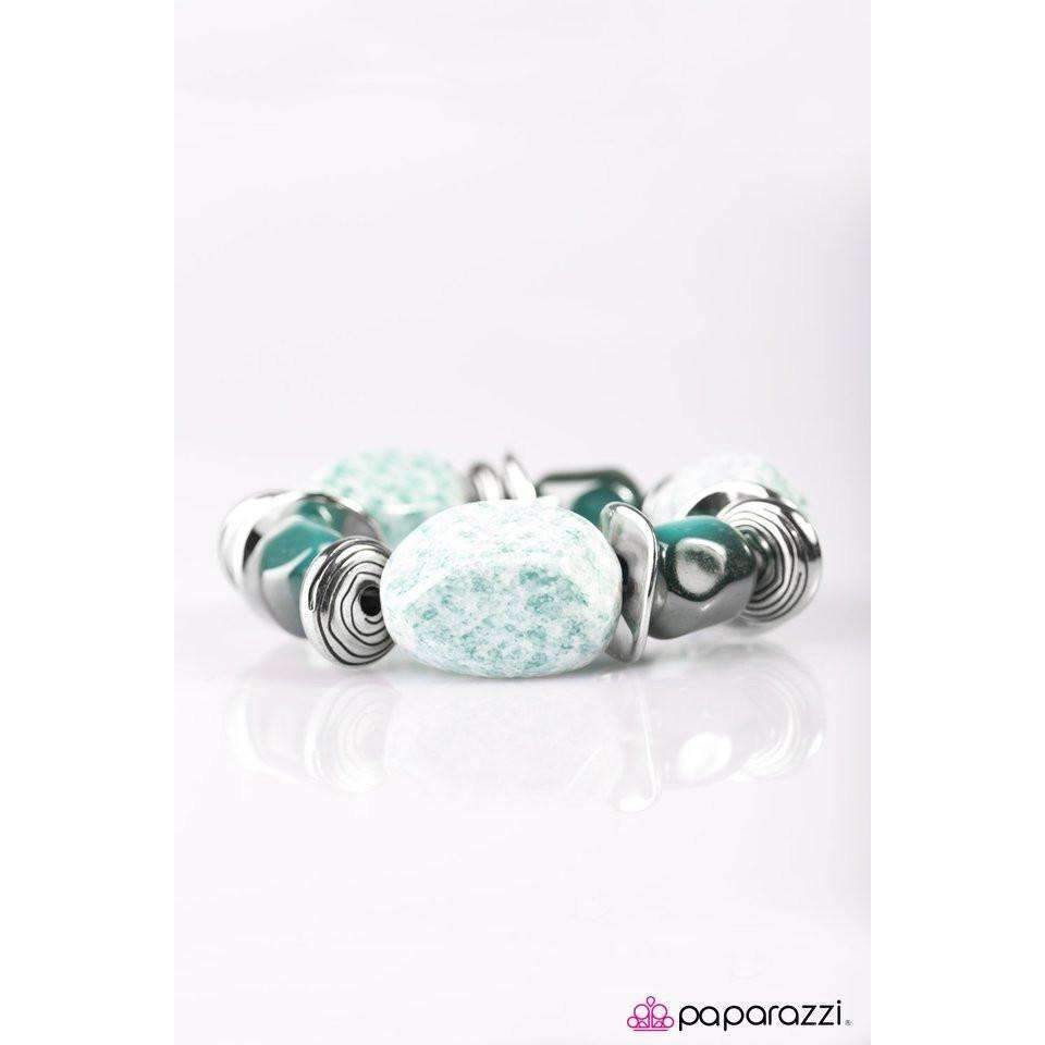 """Glaze of Glory"" Blue Chunky Bead Fashion Bracelet"