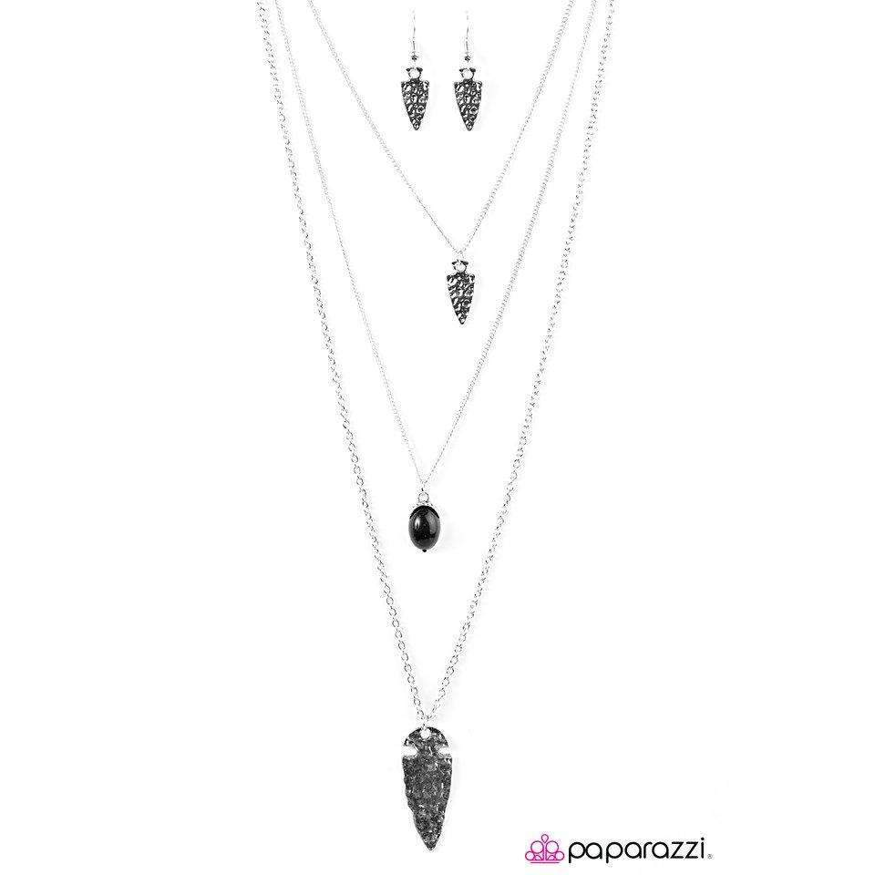 """Wild Chase"" Black Bead & Arrowhead Necklace & Earring Set"