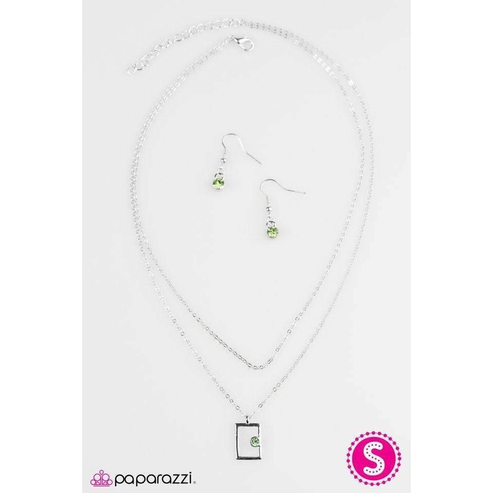 """Famously Framed""  Green Rhinestone Silver Necklace & Earring Set"