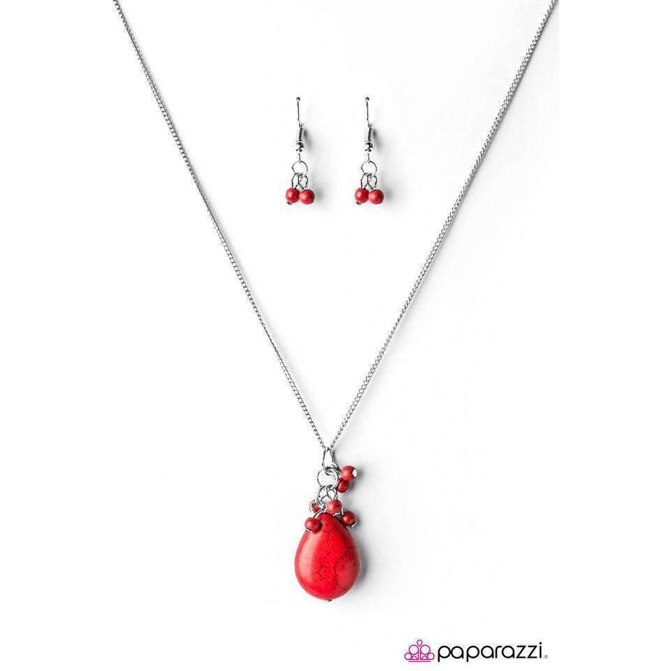 """Here Comes The Rain"" Red Bead Long Necklace & Earring Set"