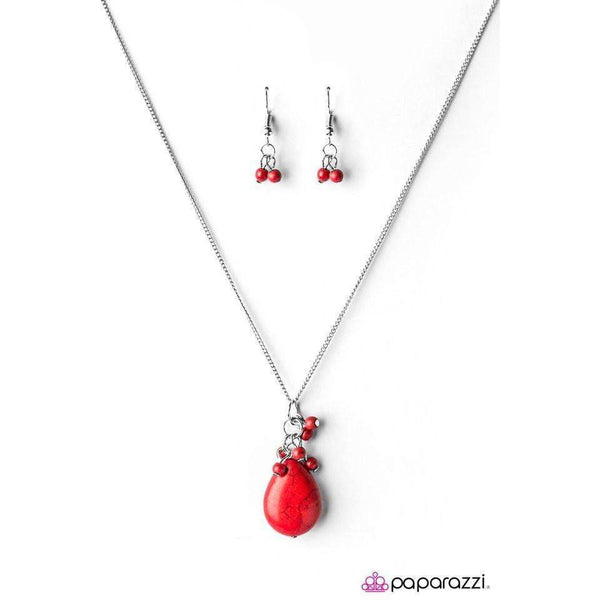 Paparazzi Here Comes The Rain Red Bead Long Necklace & Earring Set