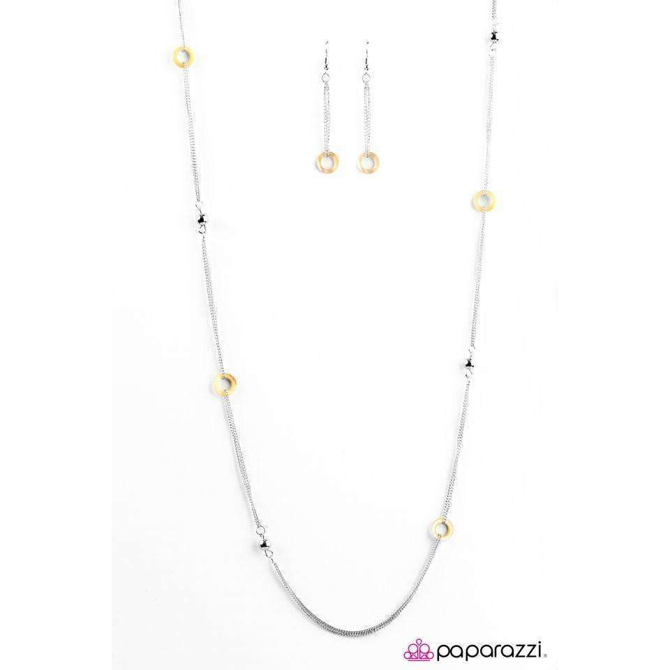 """West Coast Fashion"" Yellow Hoops Silver Bead Necklace & Earring Set"