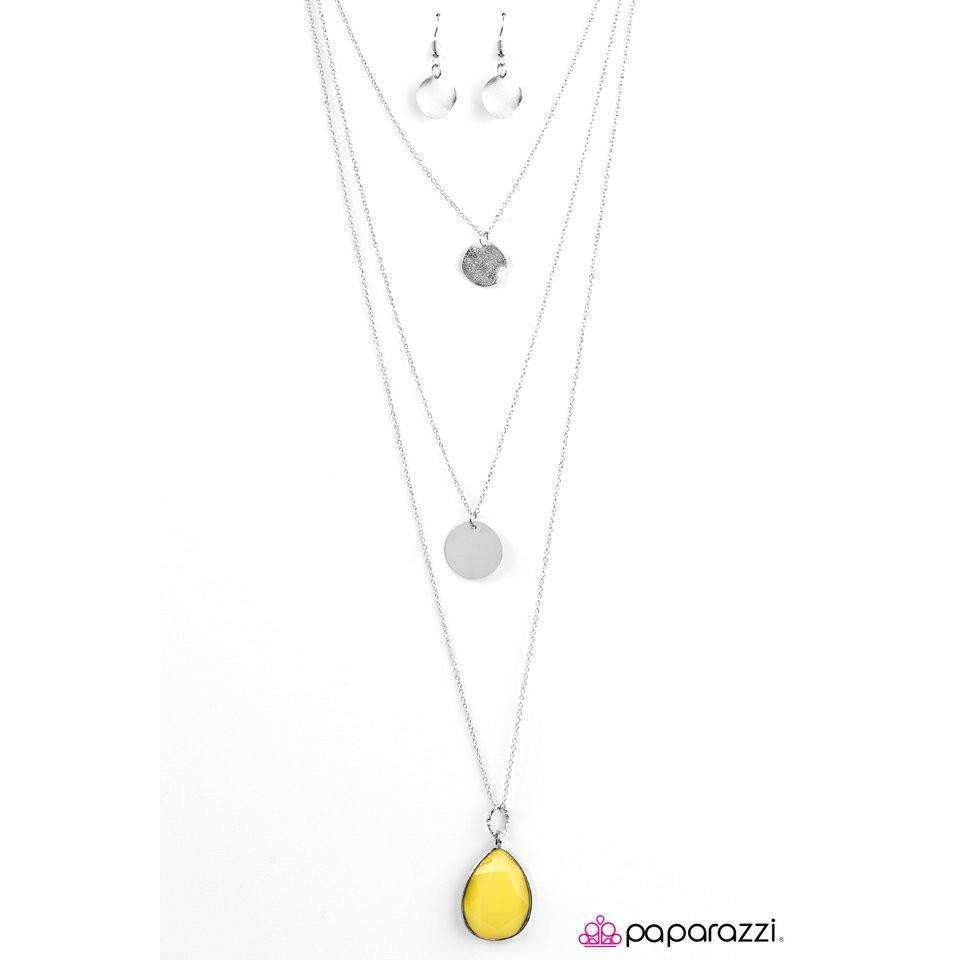 Paparazzi RAIN Supreme Faceted Yellow Teardrop Silver Necklace & Earring Set