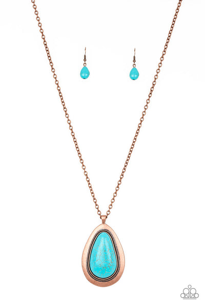 """BADLAND To The Bone - Copper"" Faux Turquoise Necklace & Earrings Set"
