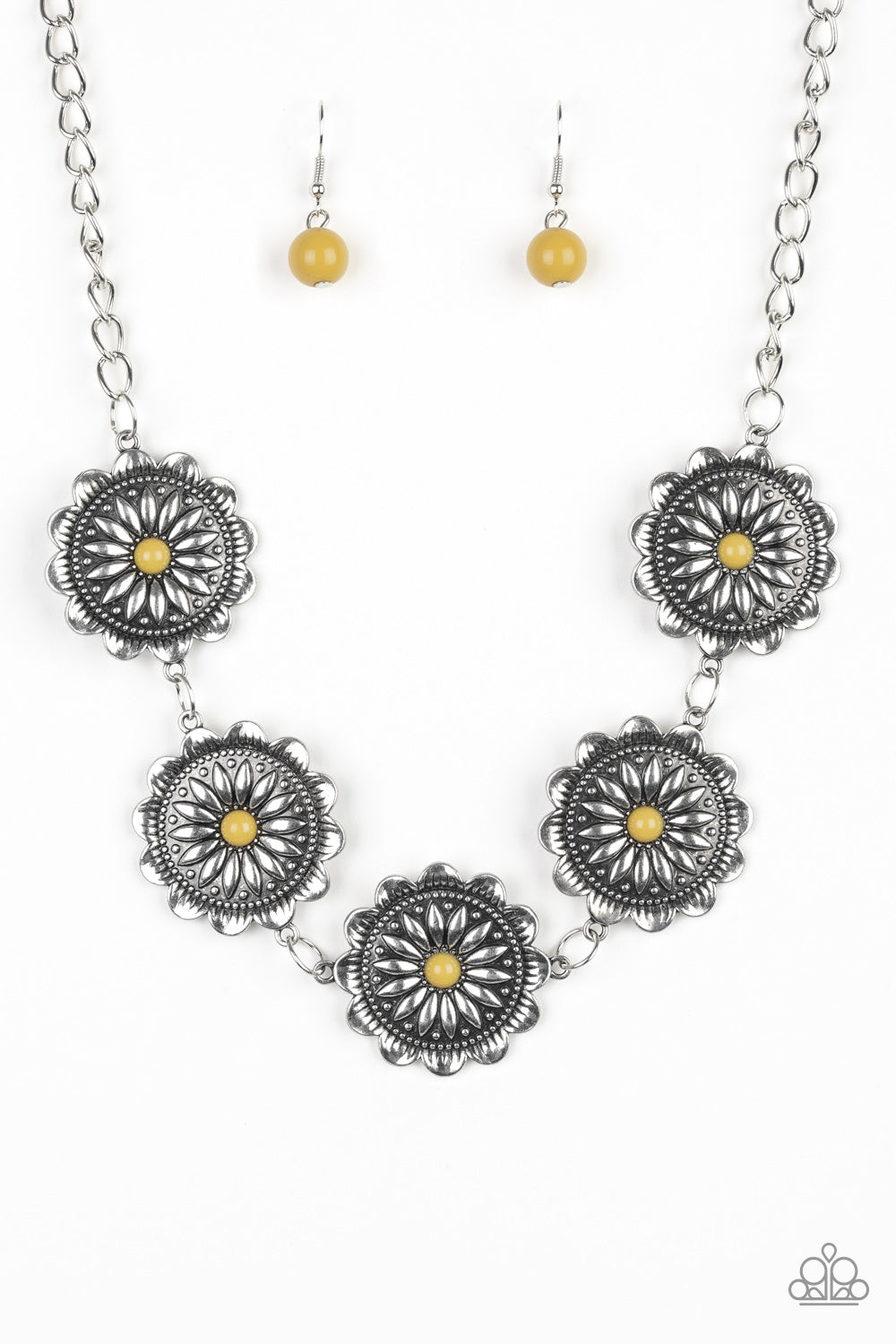 Paparazzi Me-dallions, Myself, and I Yellow Necklace & Earrings Set