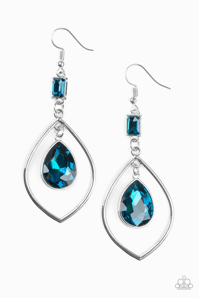 Paparazzi Priceless Blue Pierced Earrings