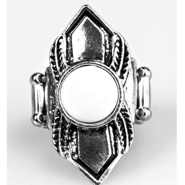 """BEAD Courageous - White"" Silver & White Bead Fashion Ring"