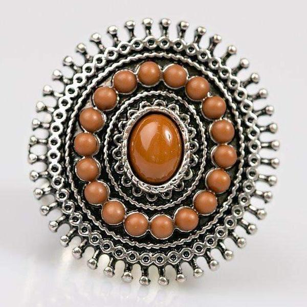 """Summer Flair"" Dainty Brown Bead Sunburst Fashion Ring"