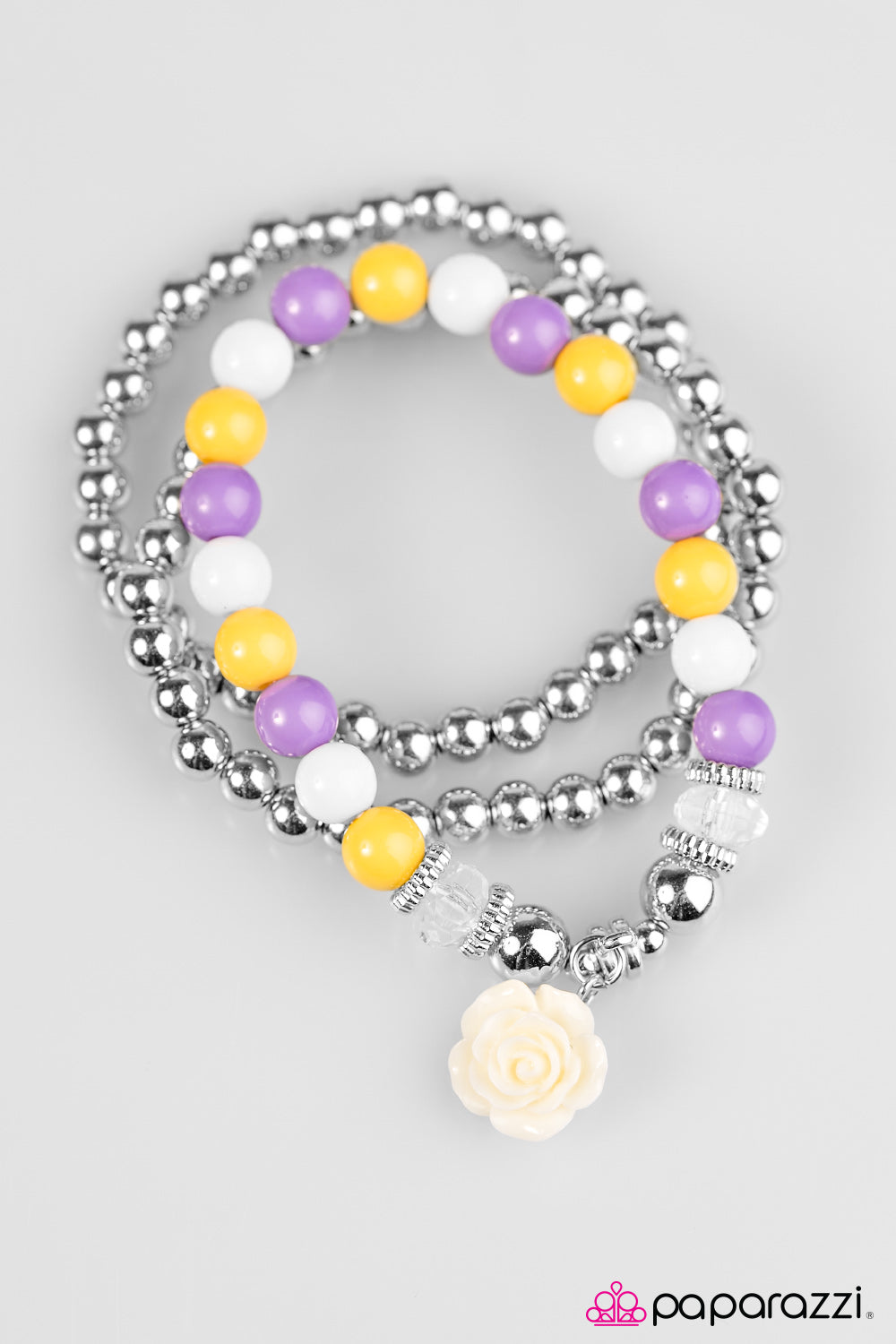 """Valley of Flowers"" Purple, White, Yellow Beads Flower Set of 3 Bracelets"
