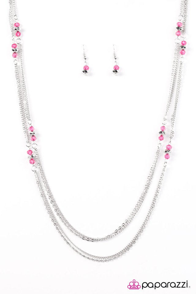 """Glass Half FANCIFUL"" Pink Bead and Long Silver Necklace & Earring Set"