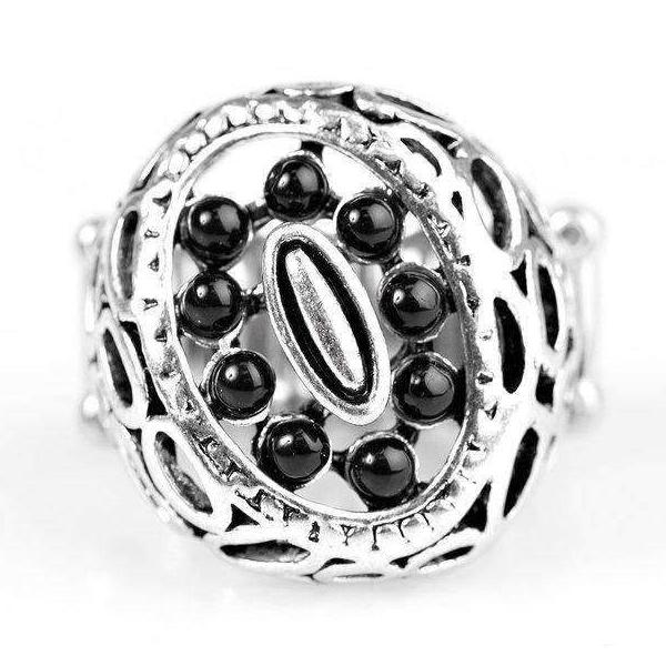 """Full Tilt"" Black Dainty Bead Asymmetrical Paparazzi Stretch Ring"