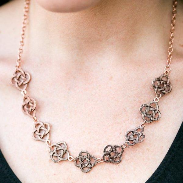 """Cunning Cleopatra"" Dotted Copper Twist Metallic Frames Necklace Earrings"