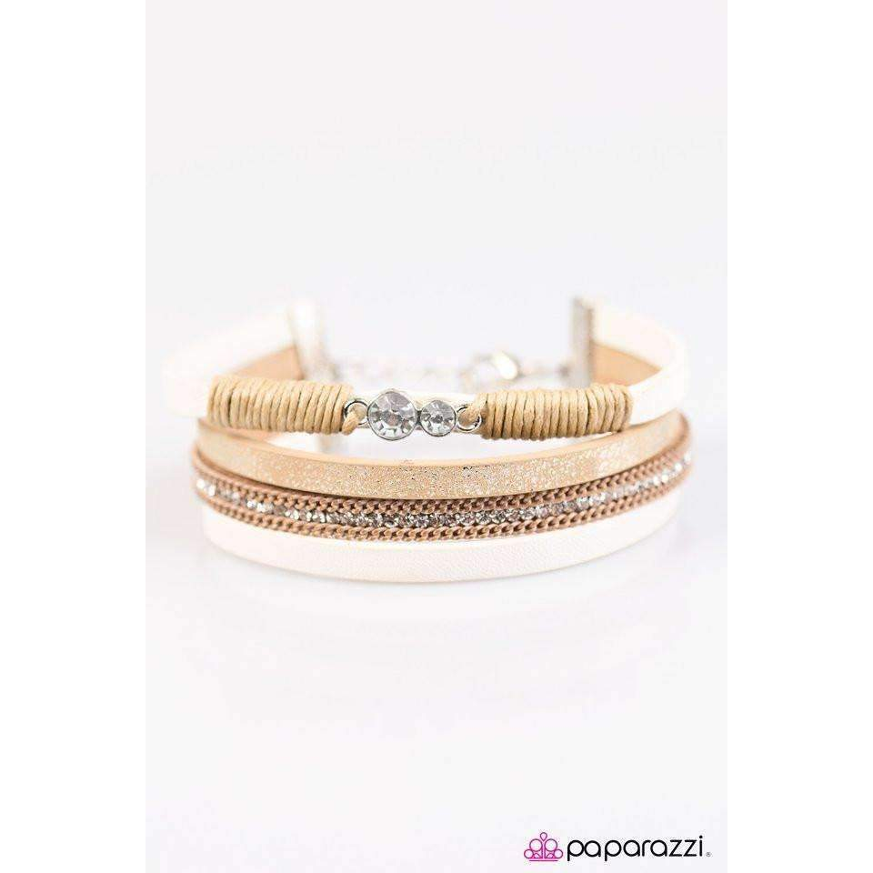 """I Speak Glitter"" Golden & White Leather & Rhinestone Charm Wrap Bracelet"