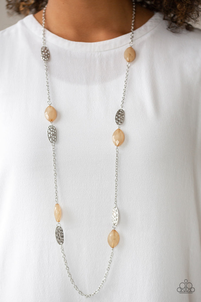 """Beachfront Beauty - Brown"" Opaque Bead Necklace & Earrings Set"
