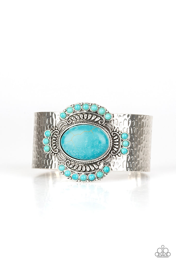 Paparazzi Canyon Crafted Faux Turquoise Ornate Cuff Bracelet