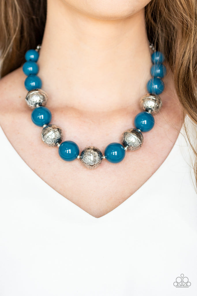 """Floral Fusion - Blue"" Floral Embossed Necklace & Earrings Set"