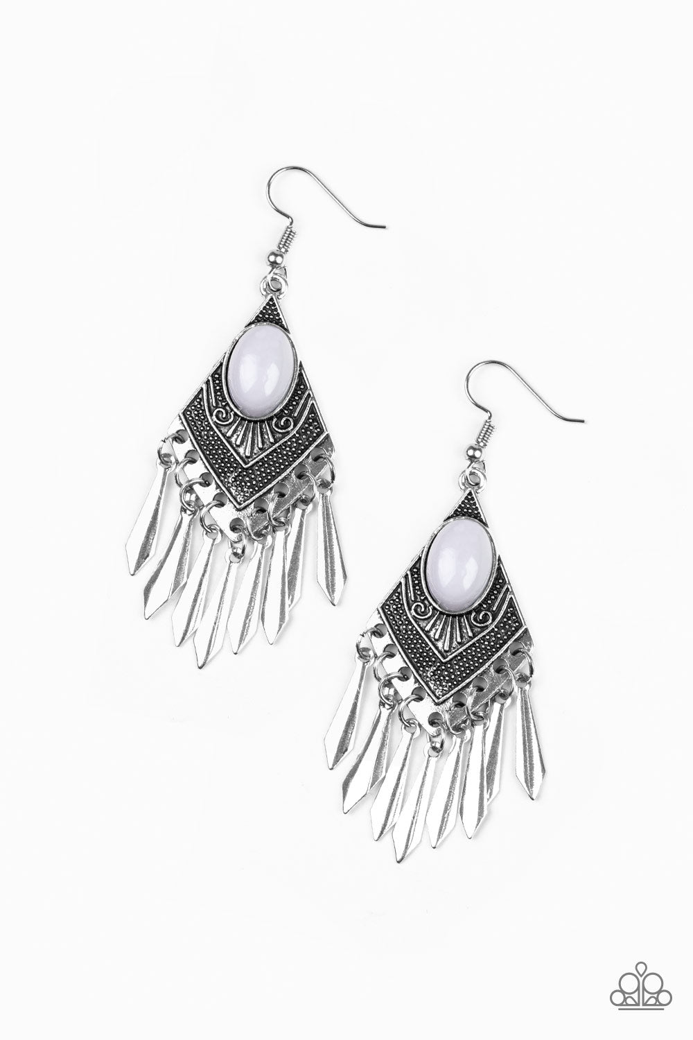 """Mostly Monte-ZUMBA - Silver"" Gray Bead Earrings"